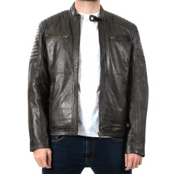 Veste en cuir Marron Chester GEROME